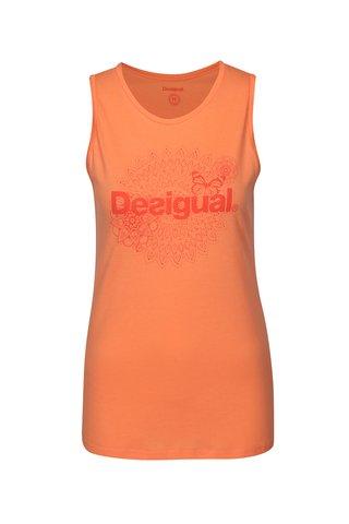 Top portocaliu cu logo Desigual Sport