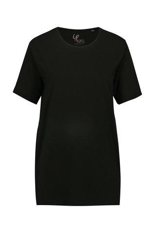 Tricou lung negru cu slituri laterale Ulla Popken