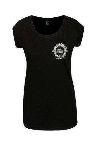 Tricou negru cu print pentru femei - Horsefeathers Betsy