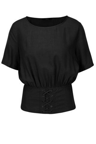 Bluza neagra cu talie marcata si snur incrucisat - ONLY Tabby
