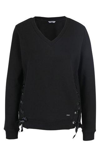 Tricou negru cu sireturi laterale Zabaione