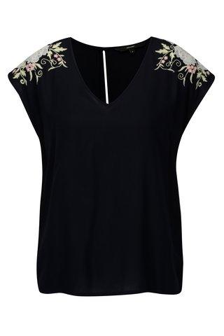 Bluza bleumarin cu borderie florala VERO MODA Evy