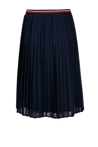 Fusta bleumarin plisata cu talie elastica Broadway Allie