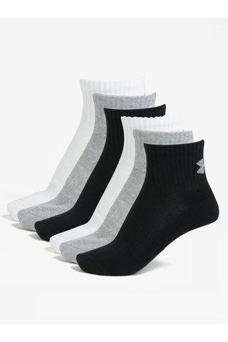Set de 6 perechi de sosete gri, alb, negru unisex Under Armour Quarter
