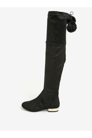 Cizme lungi negre cu pompon si toc auriu - Miss KG Vicky