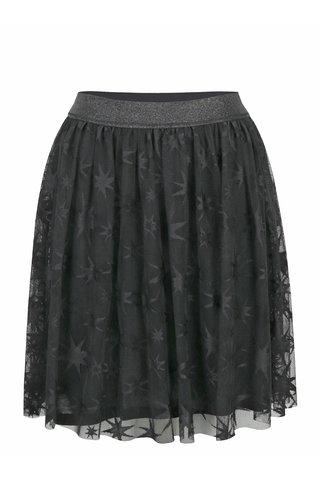 Fusta neagra din tul cu talie elastica si model cu stelute - Rich & Royal