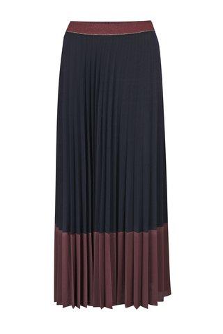 Fusta maxi bordo plisata cu talie elastica - Rich & Royal