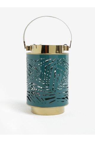 Suport lumanare verde&auriu cu model perforat Kaemingk