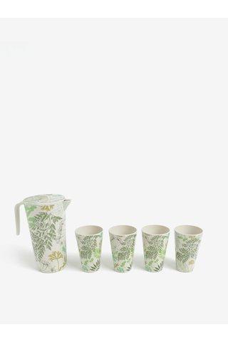 Set carafa cu 4 pahare crem cu print floral Kaemingk