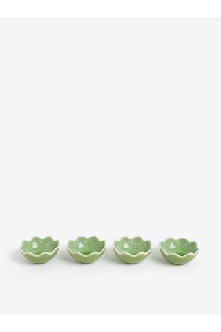 Set de 4 suporturi de lumanari verzi in forma de floare de lotus Kaemingk