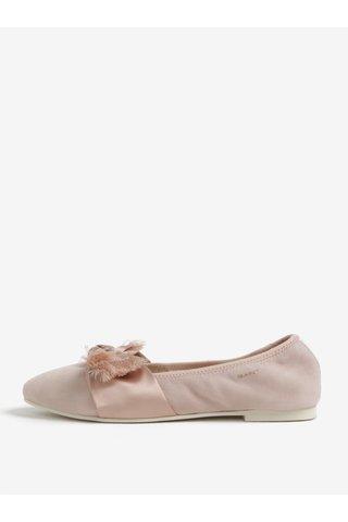 Světle růžové semišové baleríny s mašlí GANT Molly