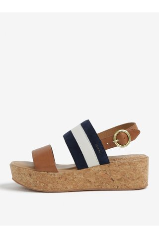 Modro-hnědé kožené sandály na platformě GANT Judith