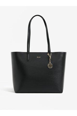 Geanta shopper neagra din piele cu pandantiv - DKNY Bryant