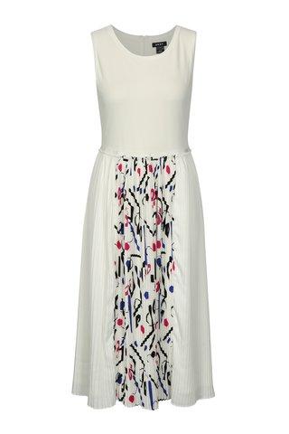 Rochie crem cu pliseuri si print geometric DKNY