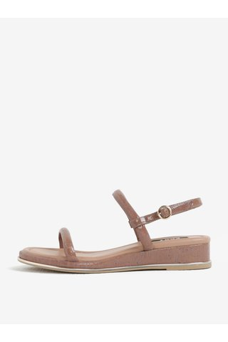 Sandale wedge roz prafuit cu aspect de lemn - DKNY