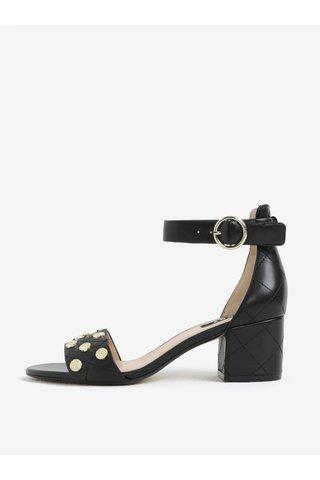 Sandale negre din piele cu toc si aspect matlasat -  DKNY Henli