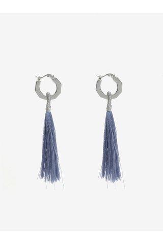 Cercei argintii cu ciucuri albastri - Pieces Illy
