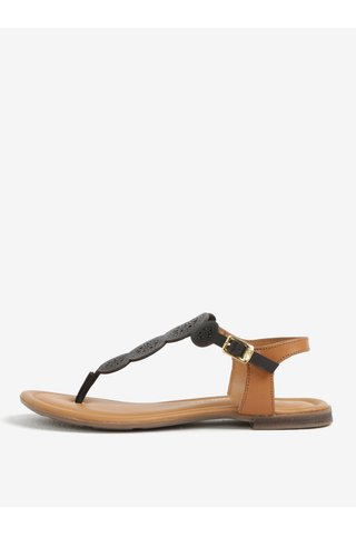 Sandale flip flop din piele maro inchis cu perforatii - s.Oliver