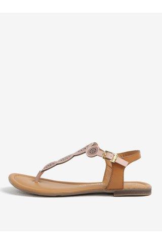 Sandale flip flop din piele roz cu perforatii - s.Oliver