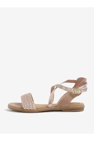 Sandale din piele roz prafuit cu aspect lucios - s.Oliver