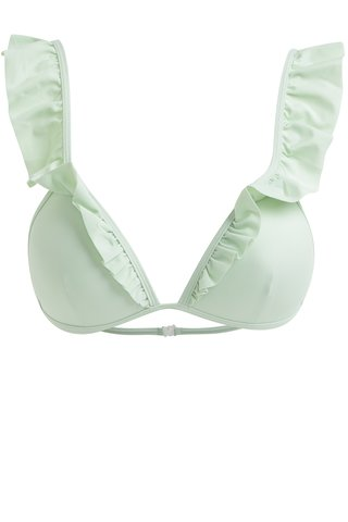 Sutien de baie verde deschis cu volane decorative -  Pieces Isa