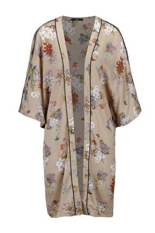 Kimono bej cu print floral si maneci 3/4  ONLY Eva