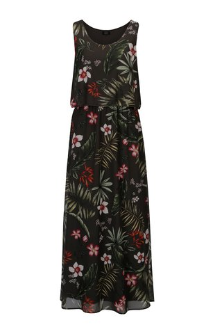 Rochie maxi verde inchis cu print floral ONLY Maya