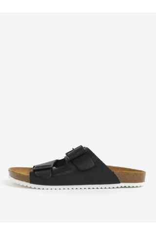 Papuci negri din piele cu catarame pentru barbati - Pepe Jeans Bio basic