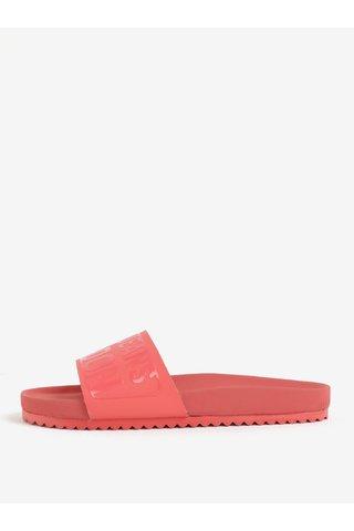 Papuci corai cu print si talpa ergonomica - Pepe Jeans Bio royal