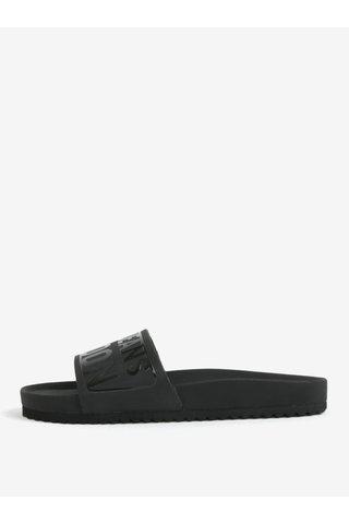 Papuci negri cu print si brant ergonomic pentru femei - Pepe Jeans Bio royal