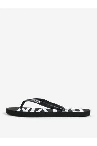Papuci de dama flip-flop negri cu print Calvin Klein