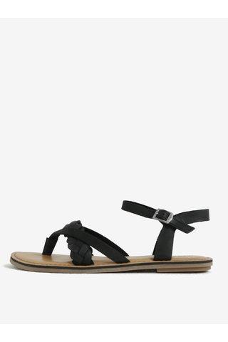 Sandale flip flop negre din piele naturala - TOMS
