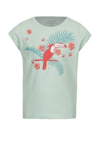 Světle zelené holčičí tričko s exotickým potiskem name it Veen