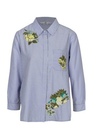 Camasa albastru&alb cu broderie florala - SH Licogna