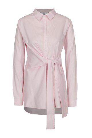 Camasa roz&alb cu text brodat si cordon textil la talie - SH Licogna