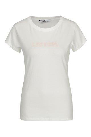 Tricou minimalist alb & roz deschis cu mesaj - SH Licogna