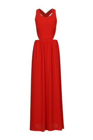 Rochie maxi rosie cu decupaje si bretele incrucisate la spate - SH Pereirde