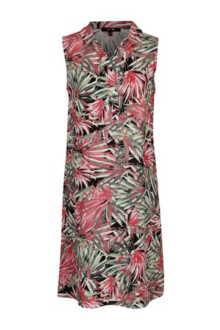 Rochie camasa fara maneci cu print palmieri Yest