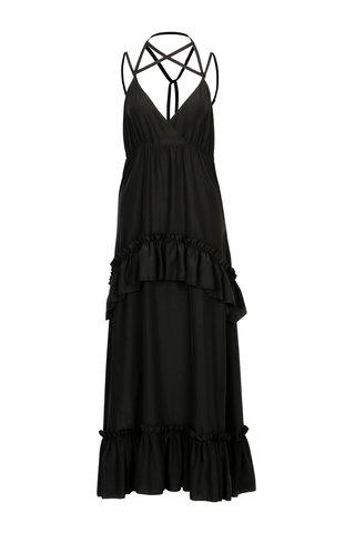 Rochie maxi neagra cu bretele incrucisate - SH Astorga