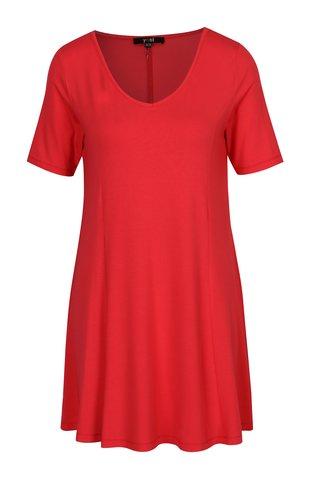 Červené šaty s véčkovým výstřihem Yest