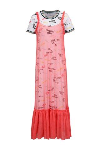 Rochie lunga sport alb & roz cu aspect 2 in 1 - SH Miraselva