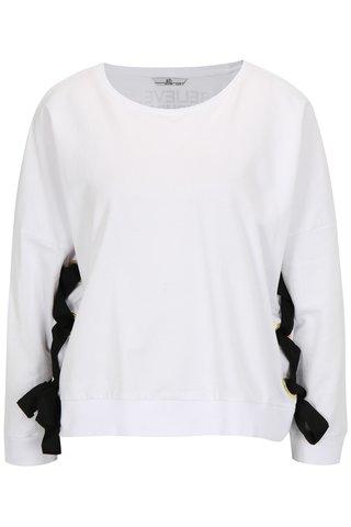 Bluza sport alba cu snur incrucisat lateral si mesaj - SH Corrego