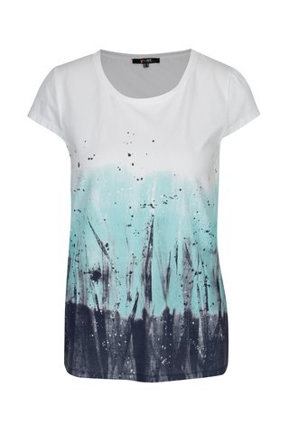 Tricou alb cu print abstract turcoaz - Yest