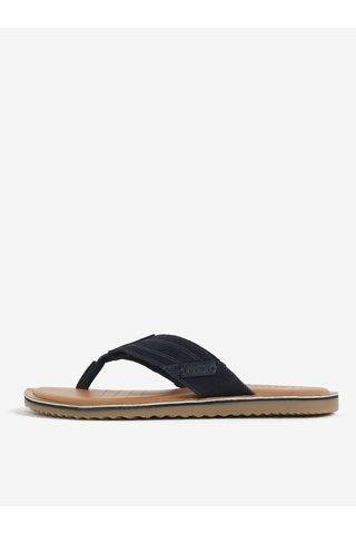 Papuci flip flop bleumarin din piele intoarsa pentru barbati - Geox Artie