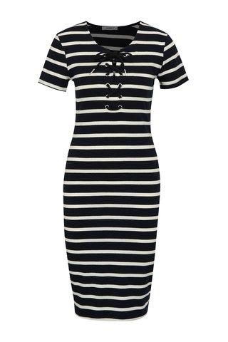 Tmavě modré pruhované pouzdrové šaty Haily´s Caren