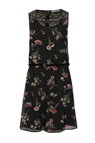 Černé květované šaty s krajkou Haily´s Jana