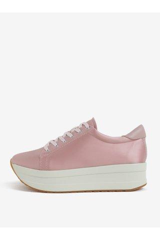 Tenisi de dama roz luciosi cu platforma Vagabond Casey