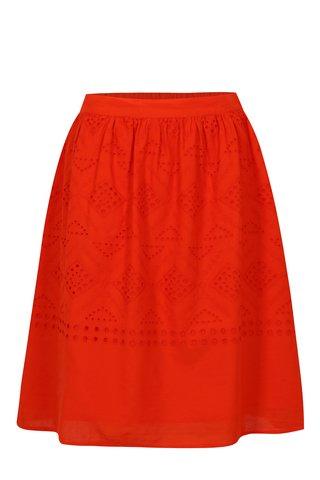 Oranžová sukně s madeirou VILA Simmi