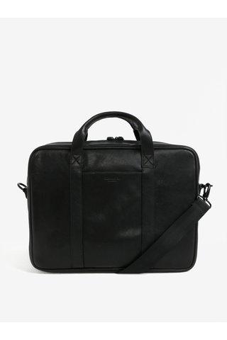 Geanta barbateasca de laptop neagra din piele Vagabond Capri