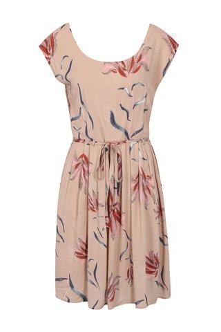 Starorůžové květované šaty s páskem VILA Andi